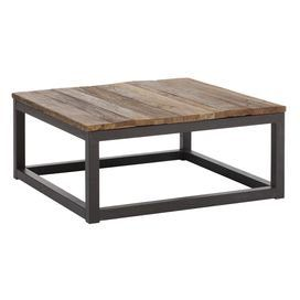 """Distressed coffee table with a planked top and antiqued metal base.   Product: Coffee tableConstruction Material: Wood and metalColor: Distressed natural and antiqued metalFeatures: Will enhance any decor Dimensions: 14.6"""" H x 32.3"""" W x 32.3"""" DCleaning and Care: Wipe clean with a dry cloth"""