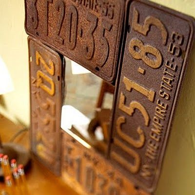 Use old license plates for decoration.