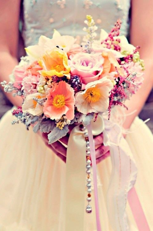 The #beading and #pastel #colors of this #bouquet are #gorgeous!