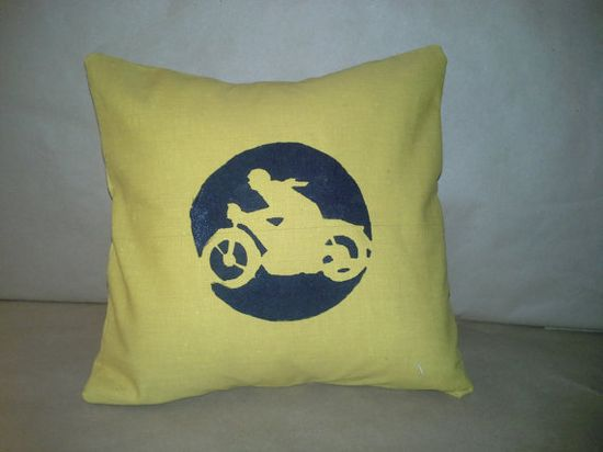 Michael Michael Motorcycle on his Cafe Racer Great by SewDogSoYou, $10.00 #motorcycle #classicbike #caferacer #pillow