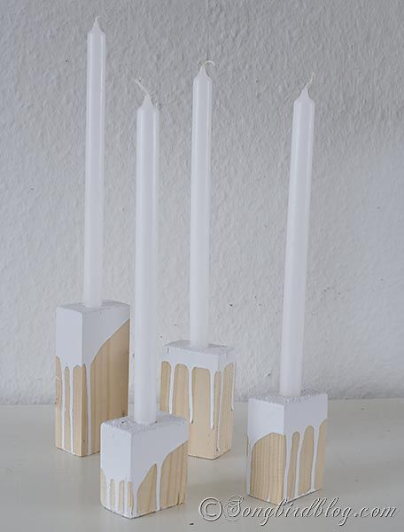 Easy to make wood block candle holders. www.songbirdblog.com