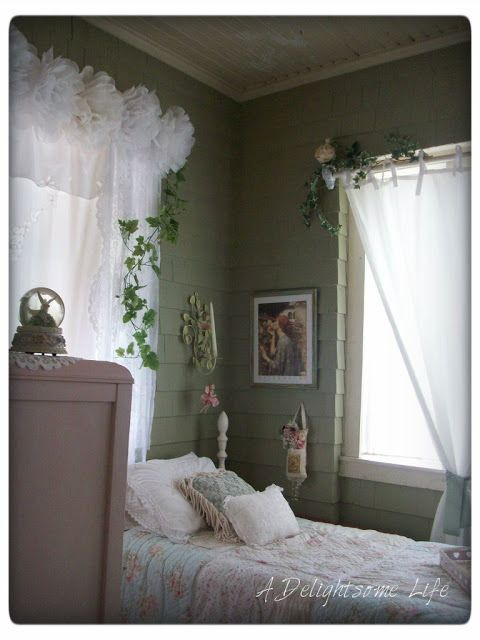 The green guest bedroom is decorated in a Romantic – Garden Cottage Style A Delightsome Life