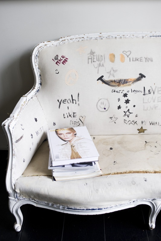 Great idea! Use Fabric Markers and decorate your own upholstered sofa or chair!