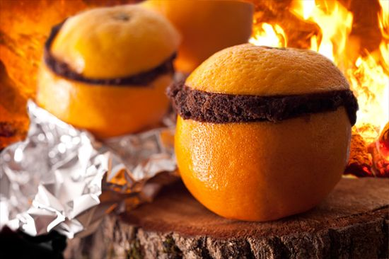 Campfire Chocolate Cake Baked in an Orange