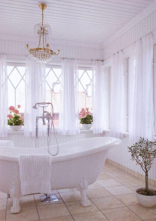 Cottage Bathroom  #white #elegant #bathroom #clawfoot #bathtub #chandelier #pretty #shabby #chic #vintage
