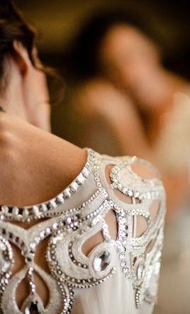 Embellished wedding dress. #weddingdress #vintageweddingdress. Need help with any aspects of wedding planning and styling? visit www.rosetintmywed...