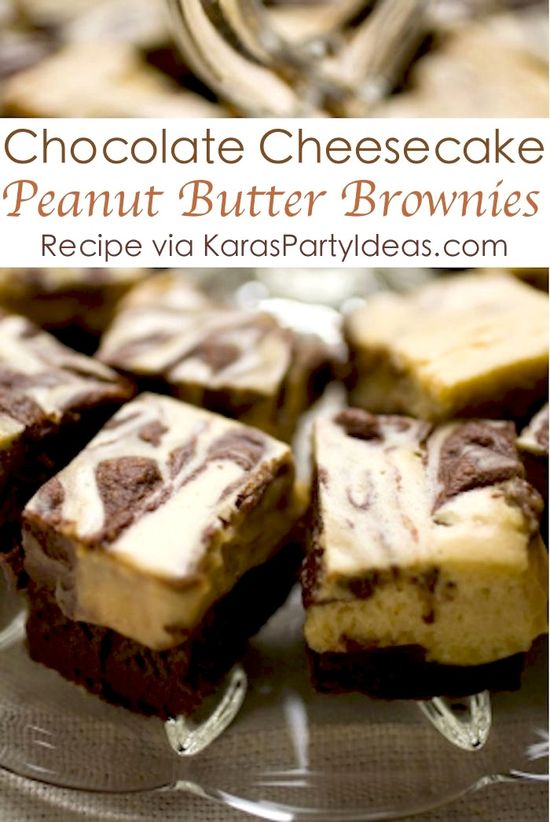 Chocolate Peanut Butter Cheesecake Brownies! Delicious Recipe! - Kara's Party Ideas - The Place for All Things Party
