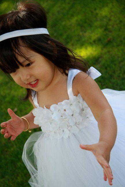White Angelic Flower Girl Tutu Dress