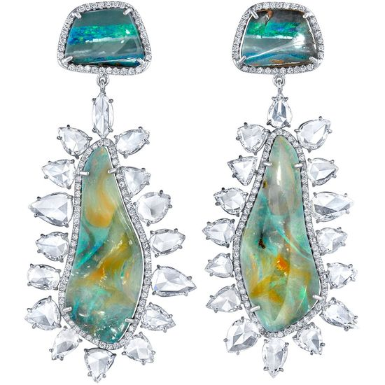 Irene Neuwirth boulder opal and rose cut diamond earrings
