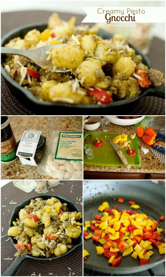 Creamy Pesto Gnocchi with Sausage {Lucky Gnocchi Legend} via Capturing Joy with Kristen Duke  >> #WorldMarket Fall Cooking #Recipes #Italian #GourmetGetaway