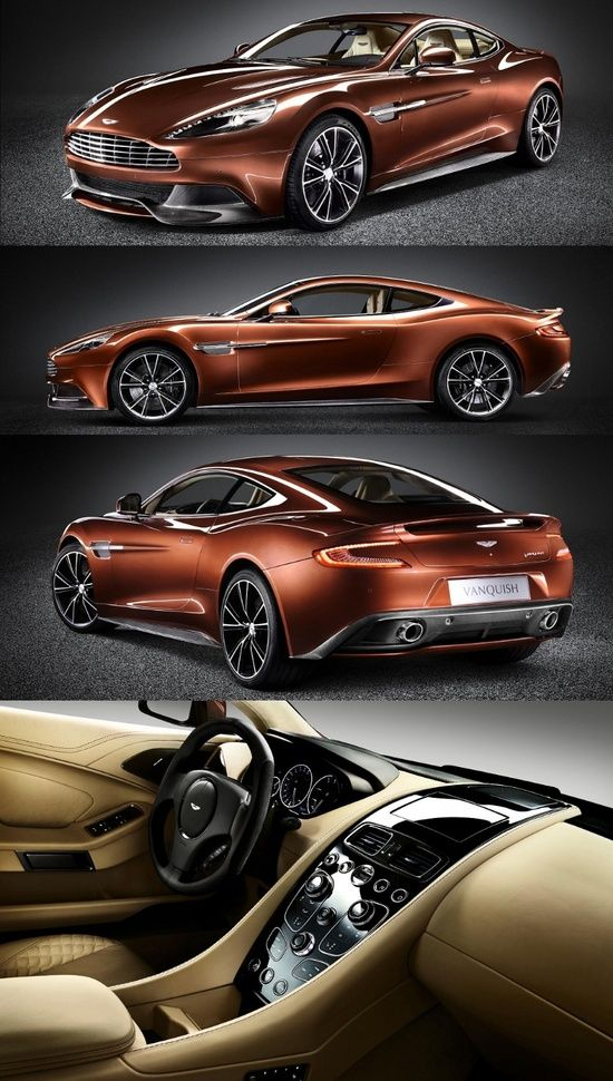 Aston Martin Vanquish. This is a gorgeous Copper/Brown. I once owned a vehicle this color and it's sumptuous.