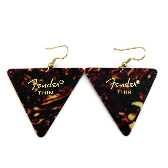 Guitar Pick Earrings Tortoise Shell Triangle by HausofAriella, $10.00