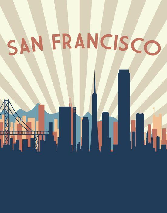 San Francisco 11x14 City Skyline Print - San Francisco Print - San Francisco Skyline Print. $24.00, via Etsy.