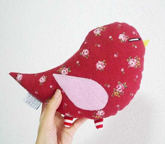 Bird Plush in Floral Print via Etsy