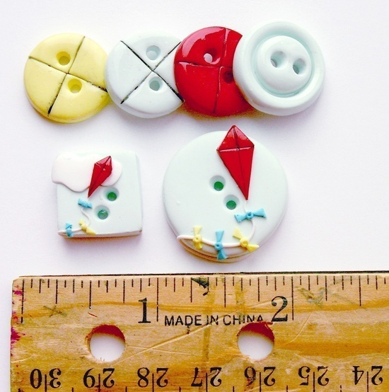 A Blustery Day (handmade buttons set of 5)