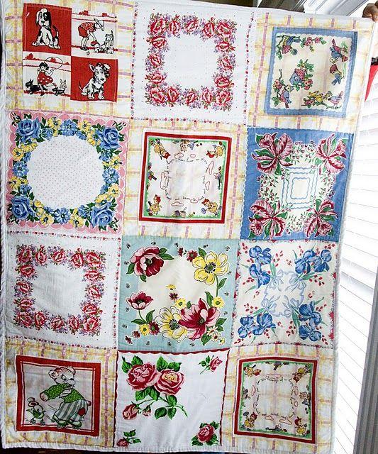 vintage hankie quilt tutorial www.polkadotchair...