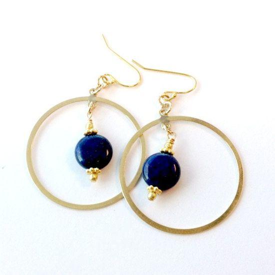 Blue Lapis Earrings Yellow Gold Jewelry Lapis by jewelrybycarmal, $25.00