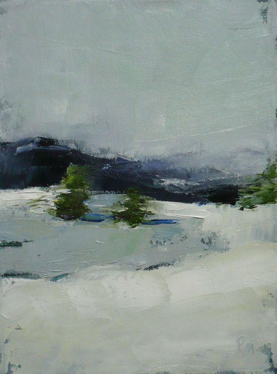 original oil landscape painting Evergreen winter by pamelam