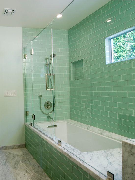 Bathroom Tile Design. Window, niche, subway tile.