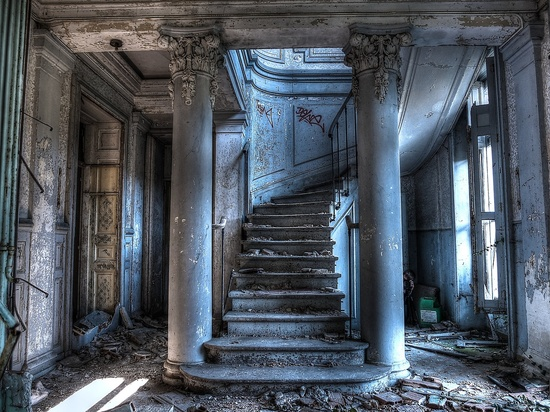 Stairs in an abandoned castle