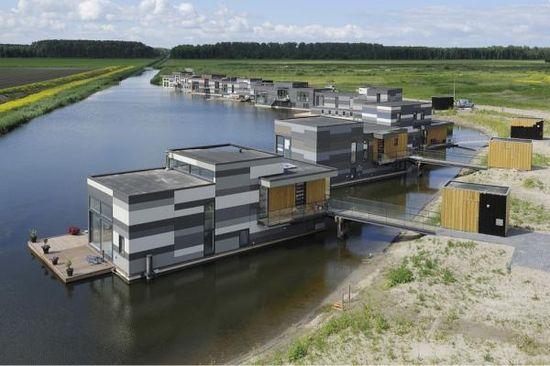 houseboats in Lelystad, Netherlands