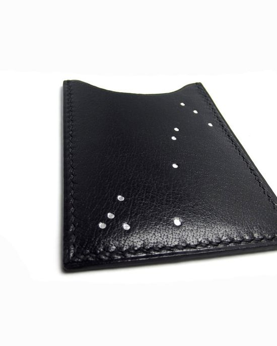 Constellation Black Leather Card Case  Card Holder  by sakao, $48.00