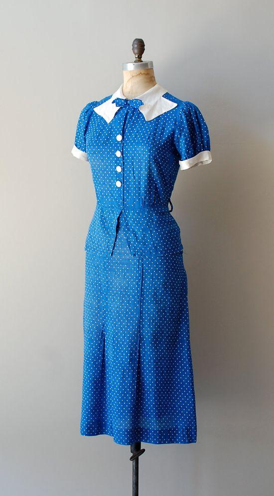 1930s Deauville swiss dot dress