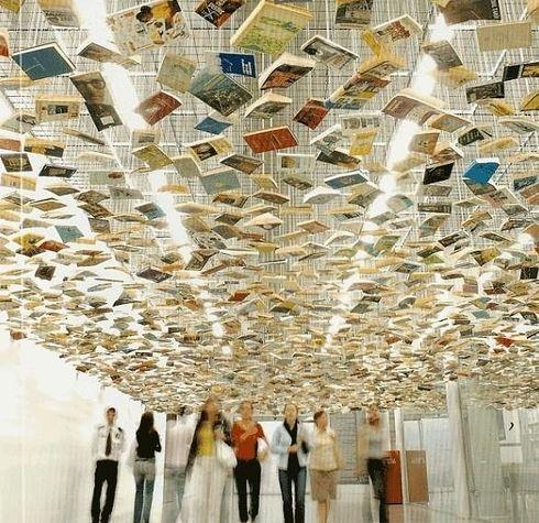 Suspended Bookshelf Installation by Richard Wentworth
