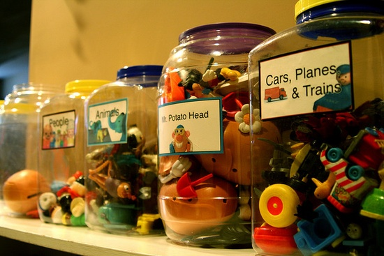 Good way to use all those big containers! Toy Storage!