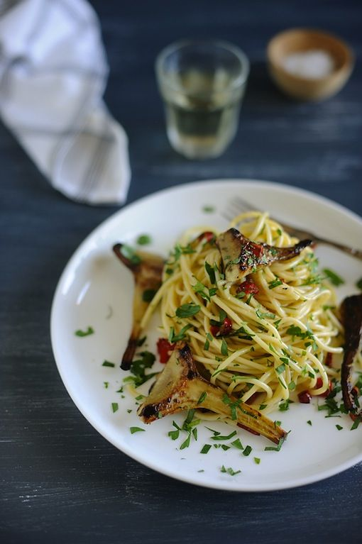 artichokes with spaghetti