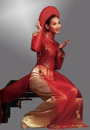 sheer red ao dai with gold pants