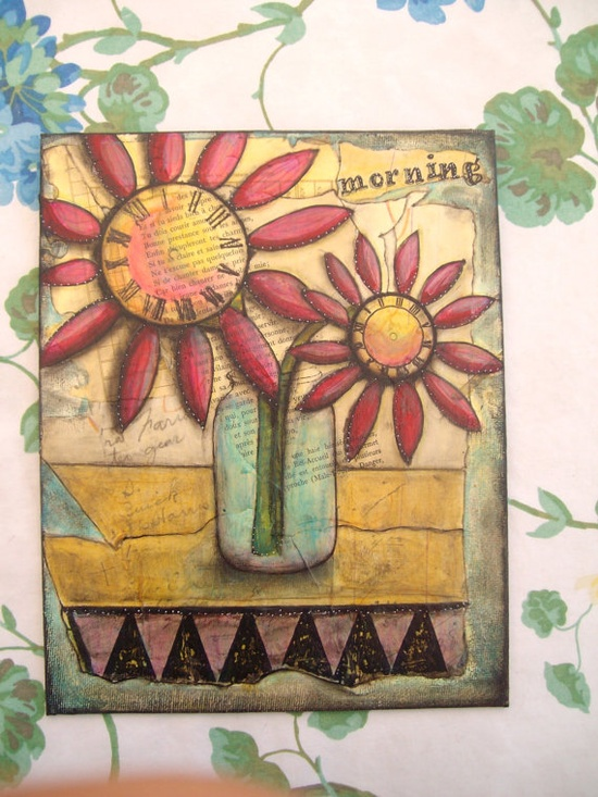mixed media painting . . . love flowers . . .