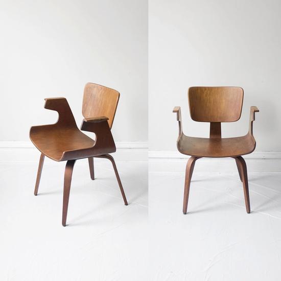 thonet 1950s mid century walnut bentwood sculptural arm chair.