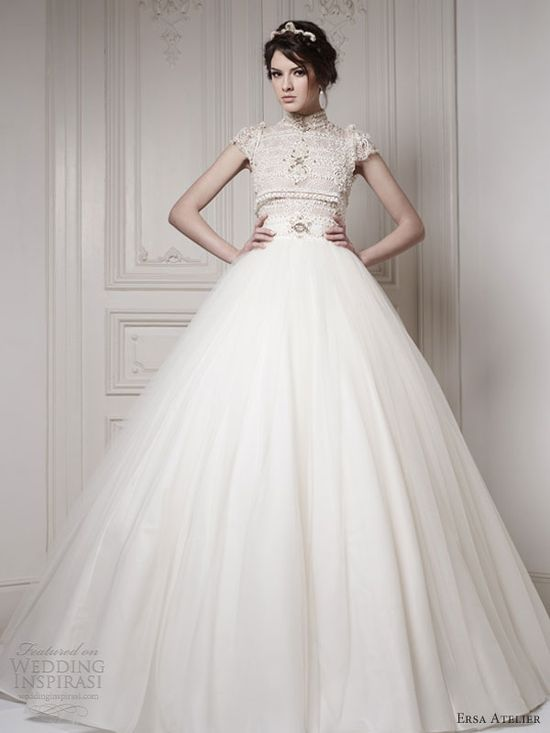 ersa atelier wedding dresses 2013 ball gown short sleeves