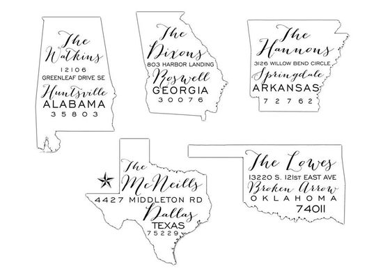 return address + state outline -- custom rubber stamps by sincerely yours paper