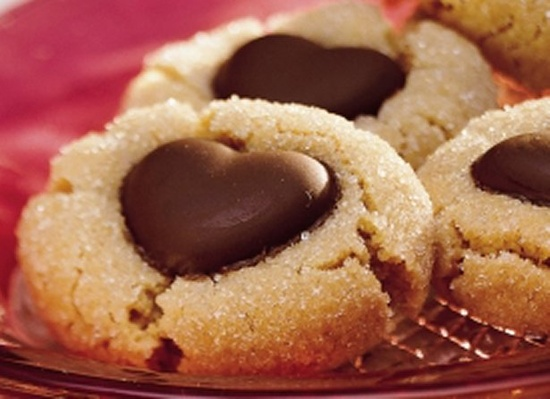 Chocolate Heart Peanut Butter Cookies - valentines day