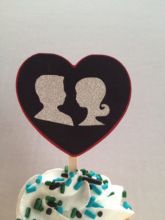 Sweetheart Sillouette Cupcake Topper by craftyworker686 on Etsy, $6.00