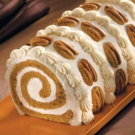 Pumpkin Roll Cake...love the way it's decorated.