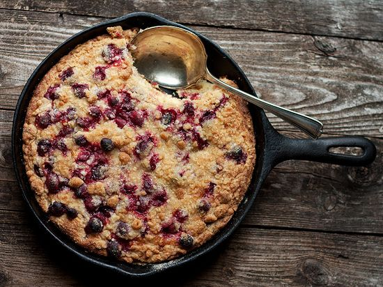 This Skillet Cranberry-Vanilla Buckle would make a great breakfast or dessert.