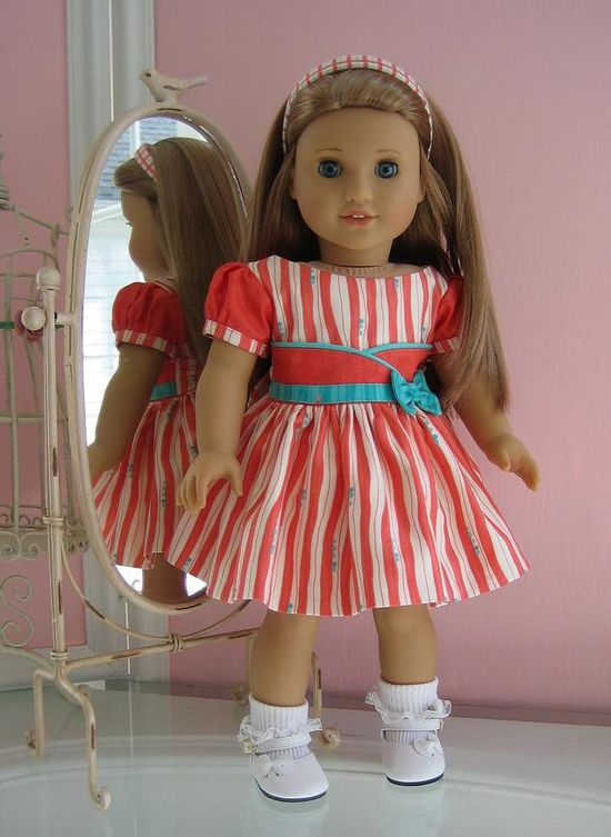 18 inch American Girl Doll Dressy Dress and matching hair band.  via Etsy.