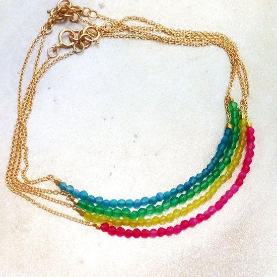 Thin Bracelet  Gold Chain  Gemstone Jewelry  by jewelrybycarmal, $28.00