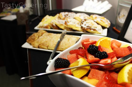 Fresh Fruit Salad & Pastries for Breakfast.