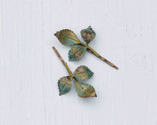 Green LEAF Branch Hair Accessories Bobby Pin by redtruckdesigns
