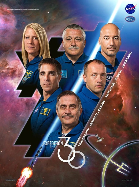 ISS Expedition 36 poster.  Chris, Sasha, and Pavel (on the bottom) will launch to the space station on March 28.  Karen, Fyodor, and Luca will launch on May 28 to join them in space.  You can find this at: www.nasa.gov/...