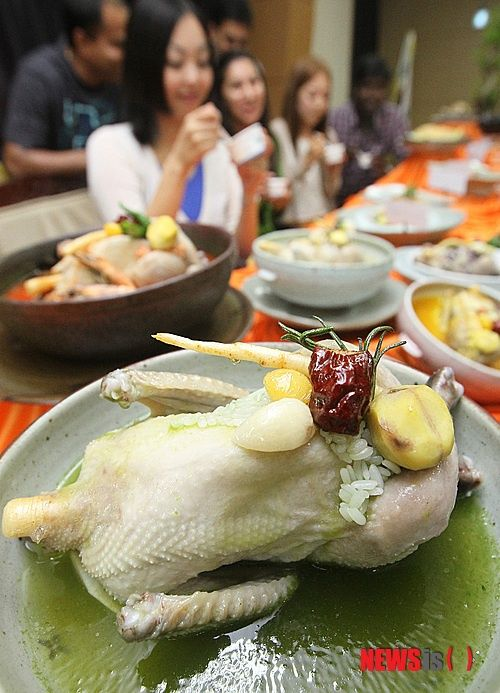 Samgyetang is traditionally served in the summer for its supposed nutrients, which replaces those lost through excessive sweating and physical exertion during the hot summers in