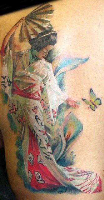 Geisha with butterflies tattoo