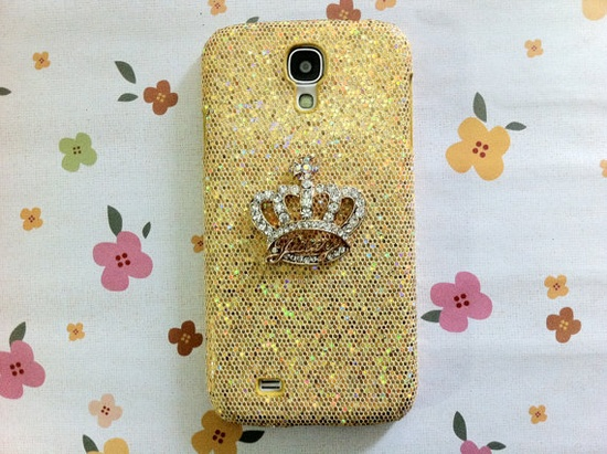Chic Luxury Bling Crystal Golden Crown Gold by Mobimoda,