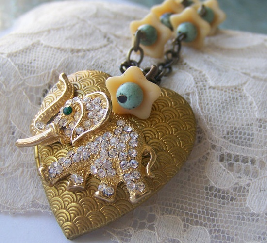 Elephant Locket Necklace one of a kind refashioned vintage by SSSJ, $32.00