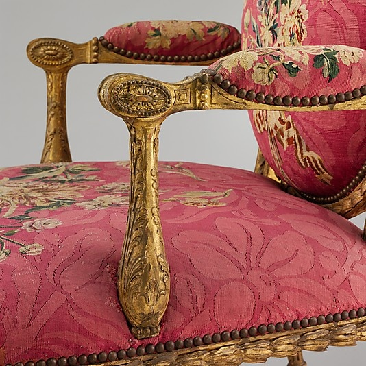 Closeup of gilded fruitwood and tapestry side chair (English & French), 1769.  chair maker - John Mayhew (English, 1736–1811) and William Ince (English, died 1804); tapestry woven at Manufacture Nationale des Designe (designer Maurice Jacques (French, 1712–1784) from workshop of Jacques Neilson (1714–1788).