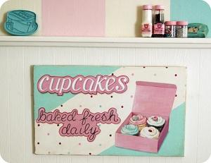 cupcakes baked fresh daily! :) #pink #aqua #kitchen #art #sign #painting #bakery #cupcakes #polka dots #retro #vintage